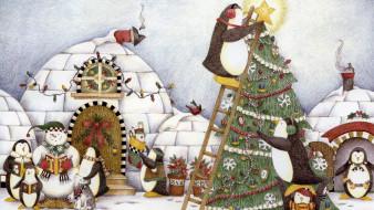пингвины, снеговик, гирлянды, иглу, ёлка, лестница