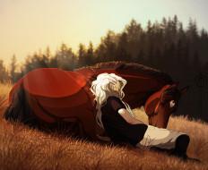 фон, лошадь, всадник