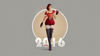 pin-up, пин-ап, рисунок, арт, art, костюм Санты, девушка, рыжая, лом на плече, леденец, by AlexRaspad, серый фон, 2016