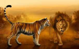 рисованное, животные, закат, встреча, грива, лев, хвост, тигр