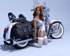 обои для рабочего стола 1975x1580 мотоциклы, 3d, мотоцикл, фон, взгляд, девушка