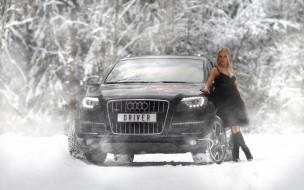 автомобили, -авто с девушками, лес, автомобиль, фон, взгляд, снег, девушка