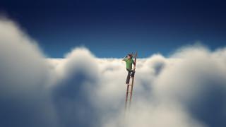 юмор и приколы, небо, облака, лестница, мужчина