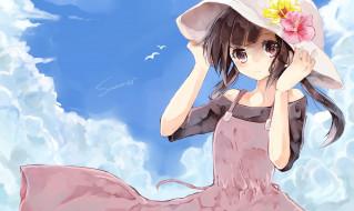 аниме, kagerou project, девочка, шляпа, небо
