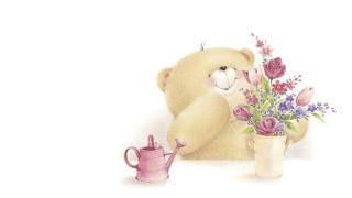 рисованное, мишки тэдди, улыбка, мишка, букетик, арт, настроение
