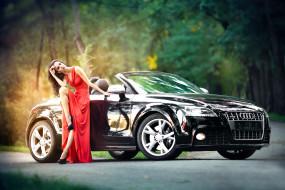 автомобили, -авто с девушками, девушка, авто, платье, туфли, макияж