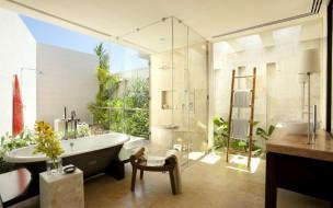 интерьер, ванная и туалетная комнаты, полотенца, стул, тумбочки, сад, ванна