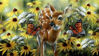 рисованное, животные, олень, бабочки, цветы