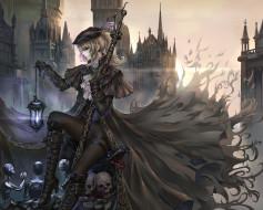 аниме, bloodhound, девушка, город, оружие, арт, череп, фонарь