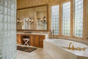 интерьер, ванная и туалетная комнаты, свечи, зеркало, ванна, душ, ванная, светильники