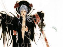 аниме, trinity blood, черные, крылья, цепи, art, kiyo, kyujyo, кровавые, слезы, крест, проклятие, abel, nightroad, кровь, триединства, trinity, blood