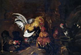 рисованное, животные, быт, жанровая, птицы, картина, петушиный, бой, Ян, фейт