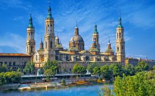 города, - католические соборы,  костелы,  аббатства, река, эбро, испания, сарагоса, набережная, храм, базилика-де-нуэстра-сеньора-дель-пилар, river, ebro, spain, zaragoza