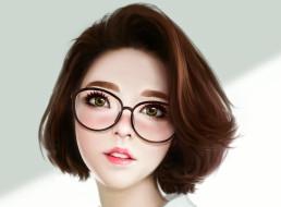 обои для рабочего стола 1920x1415 рисованное, люди, лицо, арт, девушка, asian, красота, очки, взгляд