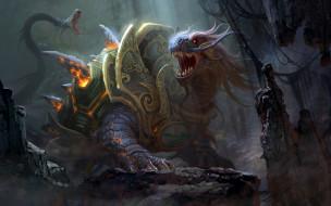фэнтези, существа, арт, черепаха, скалы, гигантская, броня, змея, шипы