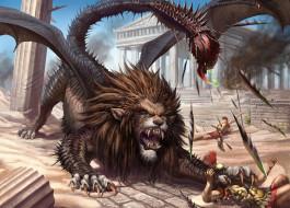 фэнтези, существа, воины, монстр, чудовище, жало, схватка