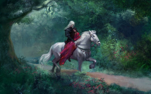 фэнтези, люди, конь, пара, лес