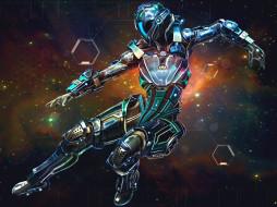 фэнтези, роботы,  киборги,  механизмы, киборг, звезды, космос, небо, робот