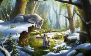рисованное, животные, волк, белка, снег, лес, подснежники, еноты