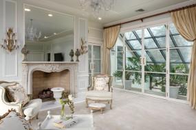 интерьер, гостиная, камин, оранжерея, окно, кресла, белый, дизайн