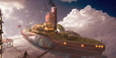 стимпанк, иной, транспорт, воздушный, корабль, мир