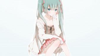 обои для рабочего стола 2254x1268 аниме, vocaloid, фон, взгляд, девушка