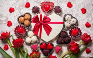 еда, конфеты,  шоколад,  сладости, ассорти, тюльпаны