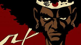 afro samurai, аниме, лицо, фон