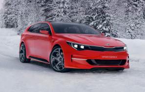 kia sportspace concept, автомобили, kia, трасса, зима, снег, красный, concept, sportspace