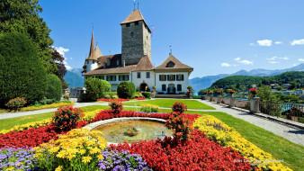 spiez castle, switzerland, города, замок шпиц , швейцария, spiez, castle