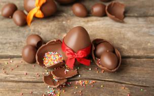 еда, конфеты,  шоколад,  сладости, яйца, шоколадные