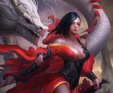 фэнтези, красавицы и чудовища, дракон, оружие, платье, взгляд, девушка, арт