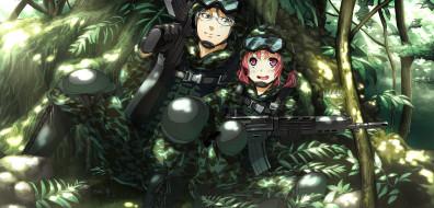 soushuu senshinkan gakuen hachimyoujin, аниме, фон, девушки, взгляд, оружие