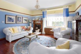 интерьер, гостиная, картины, стол, диваны, ковер, декор, шторы