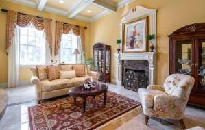 интерьер, гостиная, картина, ковер, камин, кресло, диван, шторы