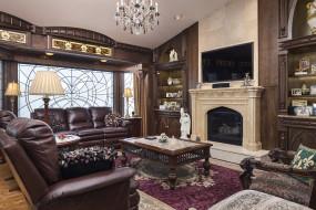 интерьер, гостиная, ковер, дерево, столик, кресло, диван, лампа, камин, декор, стиль, дизайн