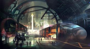 робот, мегаполис, вокзал, поезд, будущее