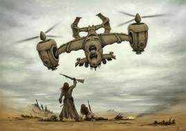 иной, мир, солдаты, пустыня, посадка, оружие