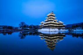 matsumoto castle  nagano, города, замки Японии, замок, озеро