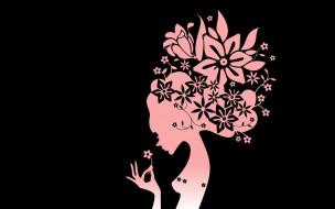 фон, взгляд, девушка, цветы