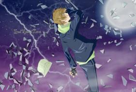 аниме, air gear, air, gear, kazuma, mikura, спина, шапка, куртка, луна, осколки, молния