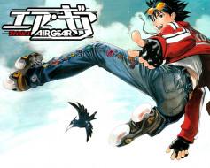 аниме, air gear, air, gear, itsuki, minami, ролики, джинсы, ворона, прыжок, эйфория, очки