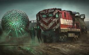 Nick Foreman, поезд, локомотив, сфера, шар, арт
