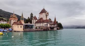 oberhofen castle on lake thun,  switzerland, города, замки швейцарии, озеро, лес, горы, замок