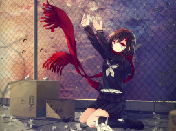 аниме, kagerou project, девушка, шарф