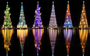 праздничные, новогодние пейзажи, отражение