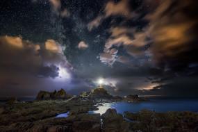 обои для рабочего стола 2048x1367 природа, побережье, звезды, ночь
