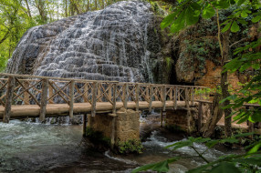 обои для рабочего стола 2048x1363 природа, водопады, река, лес, водопад