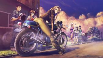 аниме, aa megami-sama, улица, персонажи, мотоцикл, поза, девушки, art, socha, morisato, megumi, skuld, keiichi, взгляд, улыбка, urd, парни, belldandy