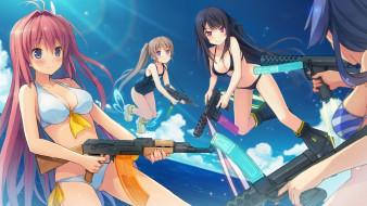 аниме, aokana, взгляд, девушки, оружие, фон